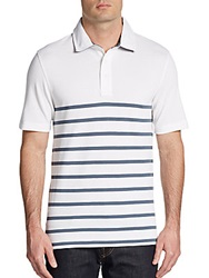 Saks Fifth Avenue Black Striped Pima Cotton Pique Polo White