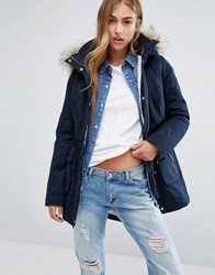Hollister Sherpa Lined Parka Coat With Faux Fur Trim Hood Navy