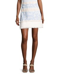 Alexis Anzel Embroidered Mini Skirt Blue Pattern