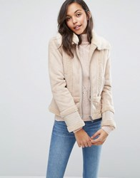 Miss Selfridge Faux Shearling Jacket Nude Pink