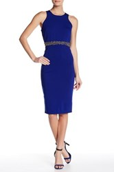 Little Mistress Embellished Waist Bodycon Dress Blue