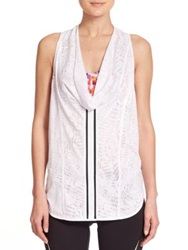 Rebecca Minkoff Amanda Mesh Detail Burnout Tank Top White