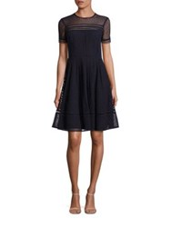Michael Michael Kors Eyelet Fit And Flare Dress New Navy