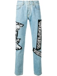 Versus Oversized Patches Straight Jeans Blue