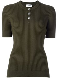 Courreges Ribbed Knit T Shirt Green
