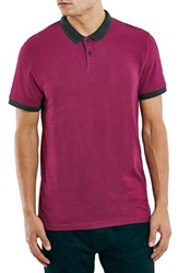 Topman Slim Fit Knit Polo Burgundy Multi