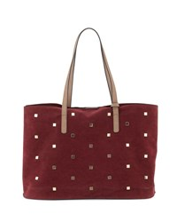 Neiman Marcus Studded Faux Suede Tote Bag Wine