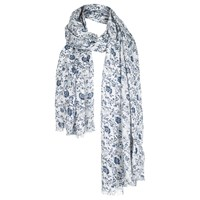Fat Face Woodblock Sequin Scarf White Navy