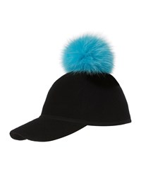 Charlotte Simone Sass Single Pom Wool Felt Baseball Cap Blue Black