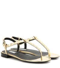 Balenciaga Giant Studded Metallic Leather Sandals Gold