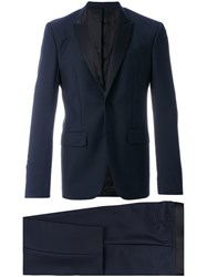 Givenchy Contrast Lapel Two Piece Suit Men Silk Cotton Polyester Wool 54 Blue