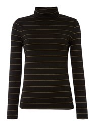 Biba Glitter Stripe Roll Neck Black