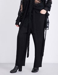 Daniel Gregory Natale Herringbone Pattern Dropped Crotch High Rise Gabardine Trousers Black