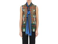 Sacai Luck Women's Plaid Chiffon Scarf Tie Blouse Navy Green