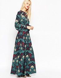 Asos Floral Kaftan Keyhole Maxi Dress Multi