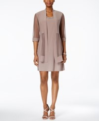 R And M Richards Petite Embellished Dress Illusion Duster Jacket Taupe