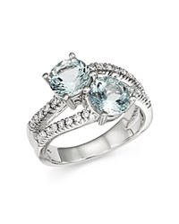 Bloomingdale's Aquamarine And Diamond Two Stone Ring In 14K White Gold White Blue