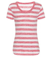 81 Hours Gia Striped Cotton T Shirt Red