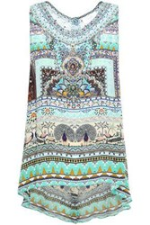 Camilla Woman The King And I Crystal Embellished Printed Silk Crepe De Chine Top Mint