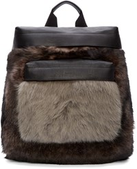 Paul Smith Black Leather And Shearling Backpack
