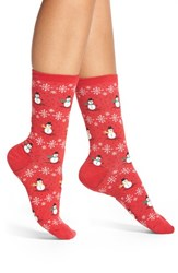 Women's Hot Sox 'Christmas Snowmen' Crew Socks Red