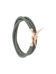 Shaun Leane Quill Wrap Bracelet Leather Rose Gold Plated Sterling Silver Grey