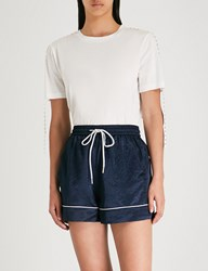 Moandco. Studded Cotton T Shirt Snow White