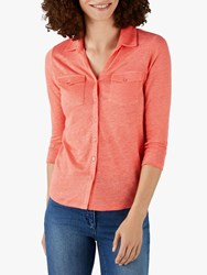 Pure Collection Linen Jersey Top Coral
