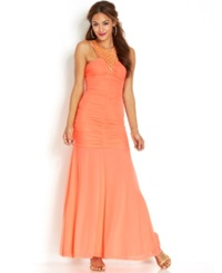 Hailey Logan By Adrianna Papell Juniors' Ruched Drop Waist Gown Melon