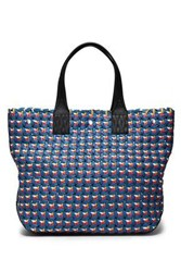 Rag And Bone Woven Leather Tote Blue