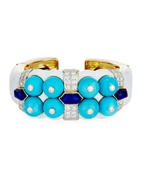 David Webb Sleeping Beauty Turquoise And Lapis Bracelet With Diamonds