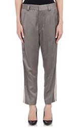 Haider Ackermann Satin Tuxedo Striped Trousers Grey Size 40 Fr