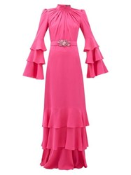 Andrew Gn Gathered Neck Belted Silk Crepe Gown Pink