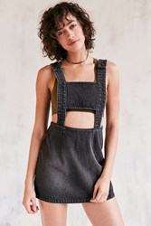 Evil Twin Momentary Cutout Denim Overall Mini Dress Washed Black