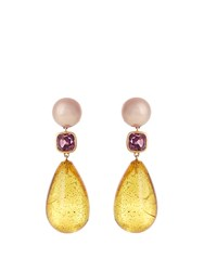 Brigid Blanco Pearl Spinels Amber And Yellow Gold Earrings