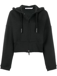 Alexander Wang T By Short Zipped Hoodie Black
