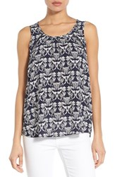 Women's Pleione Embroidered Inset Scoop Neck Sleeveless Blouse Navy Ivory Black Wild Flower