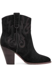 Ash Joe Baby Embroidered Suede Ankle Boots Black