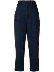 Y's Straight Leg Tailored Trousers Blue