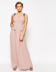 Little Mistress Chiffon Maxi Dress With Pleats And Embellished Shoulders Pink