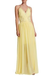 Dress The Population Women's Lace And Chiffon Gown Sunny Yellow
