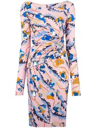 Emilio Pucci Floral Print Fitted Dress Pink Purple