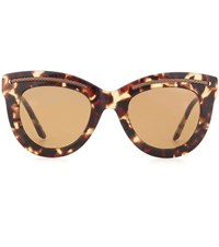 Bottega Veneta Tortoiseshell Cat Eye Sunglasses Green