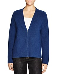 Eileen Fisher Merino Wool Zip Cardigan Blue Bonnet