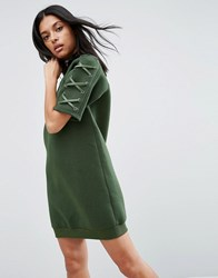 Story Of Lola Neoprene Dress With Lace Up Sleeve Olive Green