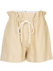 Bassike Drawstring Paper Bag Shorts Nude And Neutrals