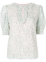 Rebecca Taylor Printed Keyhole Blouse Green