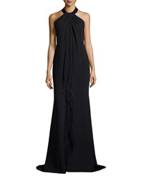 Carmen Marc Valvo Sleeveless Halter Beaded Toga Gown W Fringe Black