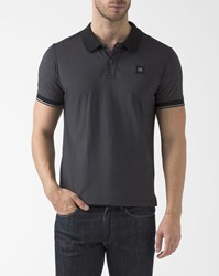 C.P. Company Black Polo Shirt With Contrasting Collar And Cp Logo On Chest