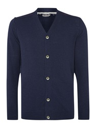 Duck And Cover Plain V Neck Button Cardigan Navy